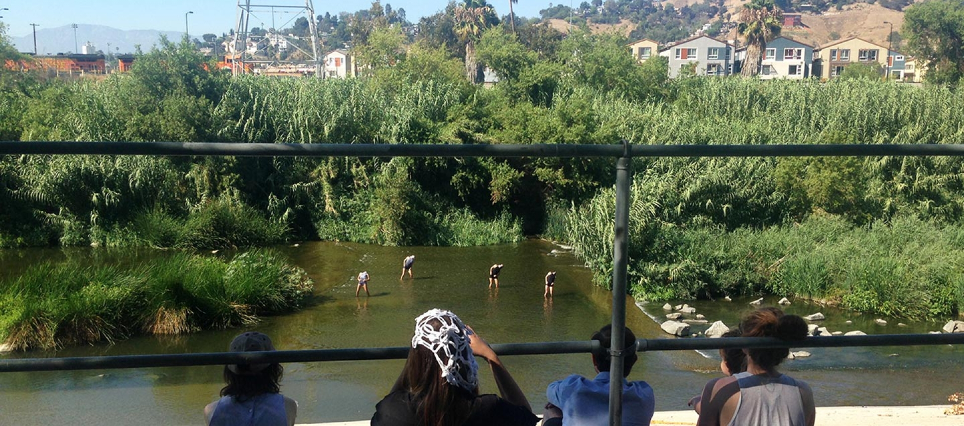Performance in the LA River at the Women's Center for Creative Work.